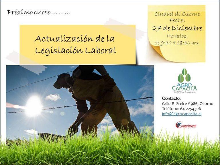Curso Actualización de la Legislación Laboral, con Nuevos Temas como: Contratación de extranjeros, carga máxima, discapacitados, semana bisemanal, otros.